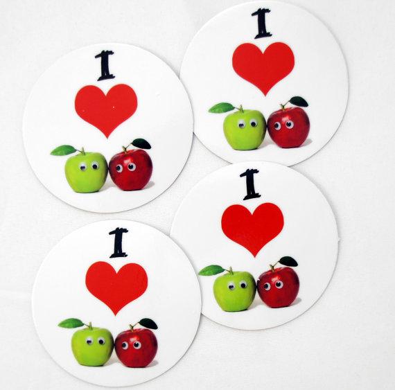 Наклейки на ланч боксы с яблочками