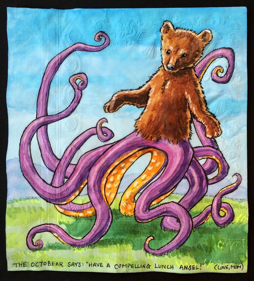 рисованная салфетка в виде собаки с телом осьминога