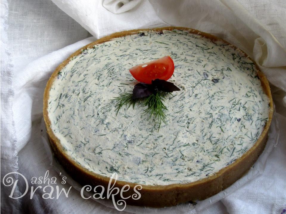 """Пирог с """"сыром"""" из кешью, ароматными травками и солью"""